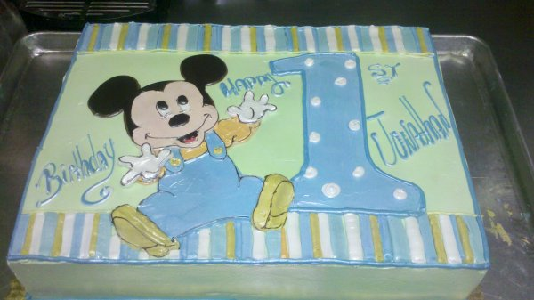 Astounding Baby Boy 1St Birthday Mickey Mouse Cake 1St Birthday Ideas Funny Birthday Cards Online Elaedamsfinfo